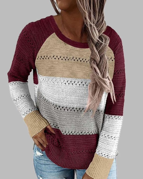 Colorblock Rib-Knit Hollow Out Round Neck Sweater gallery 8