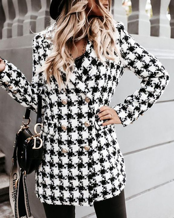 Houndstooth Double Breasted Lapel Neck Coat gallery 10