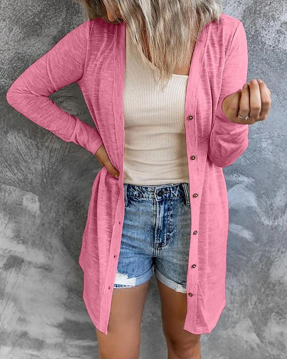 Solid Single Breasted Open Front Cardigan gallery 3
