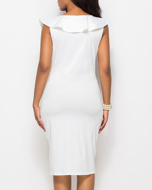 Solid Ruffle Trim Ruched Wrap Asymmetrical Hem Knee Length Dress gallery 12