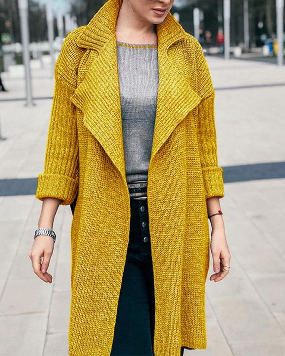 Solid Rib-Knit Open Front Lapel Neck Cardigan gallery 1