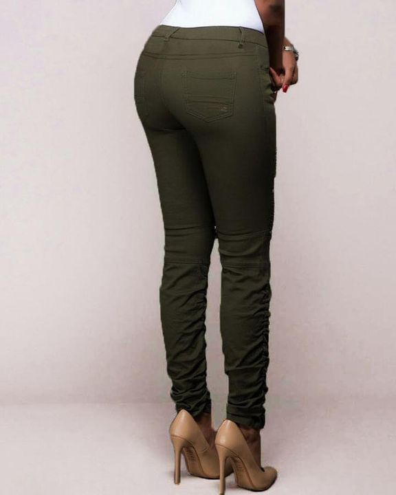 Ripped Zipper Front Stitch Trim Pants gallery 3