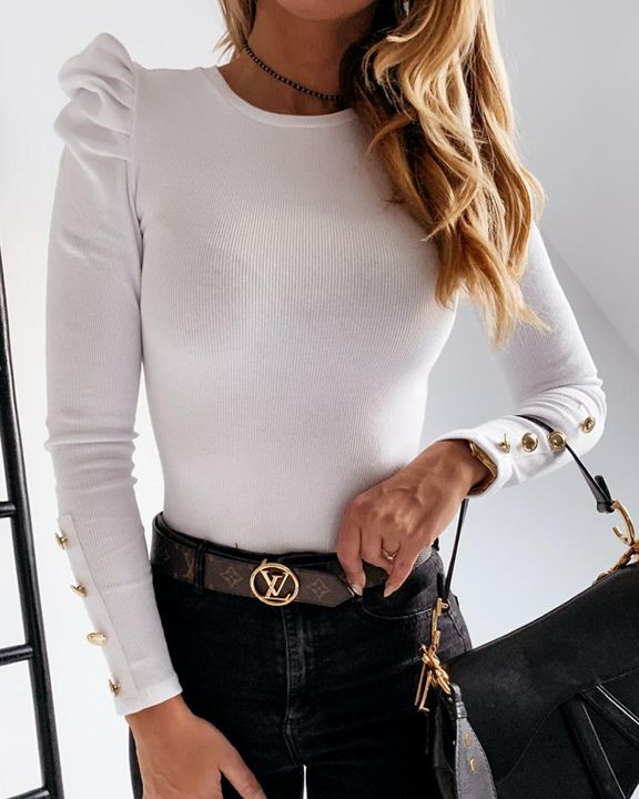 Rib Knit Leg-of-mutton Sleeve Button Trim Sweater gallery 4