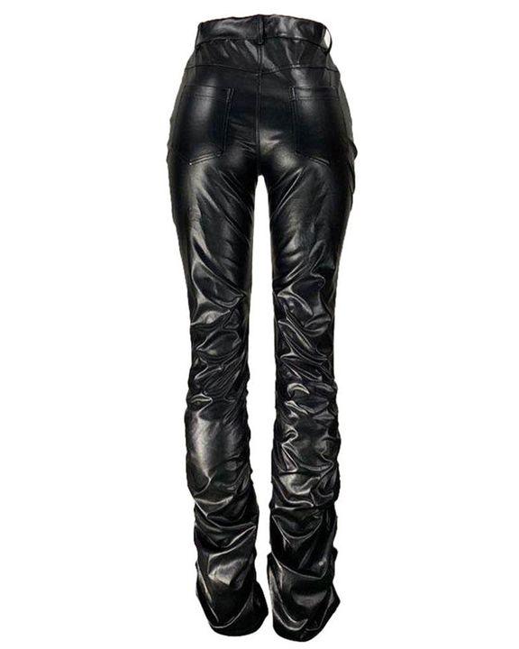 High Waist Slant Pocket Stacked PU Pants gallery 6