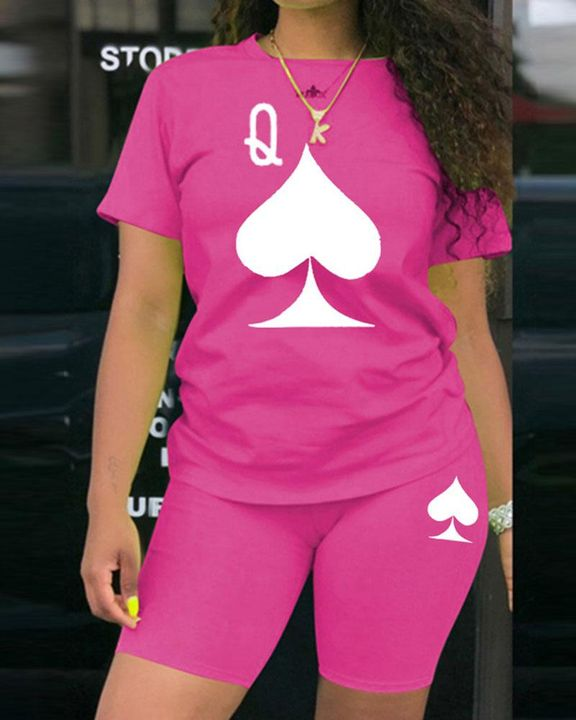 Playing Card Print Round Neck Top & Shorts Set gallery 3