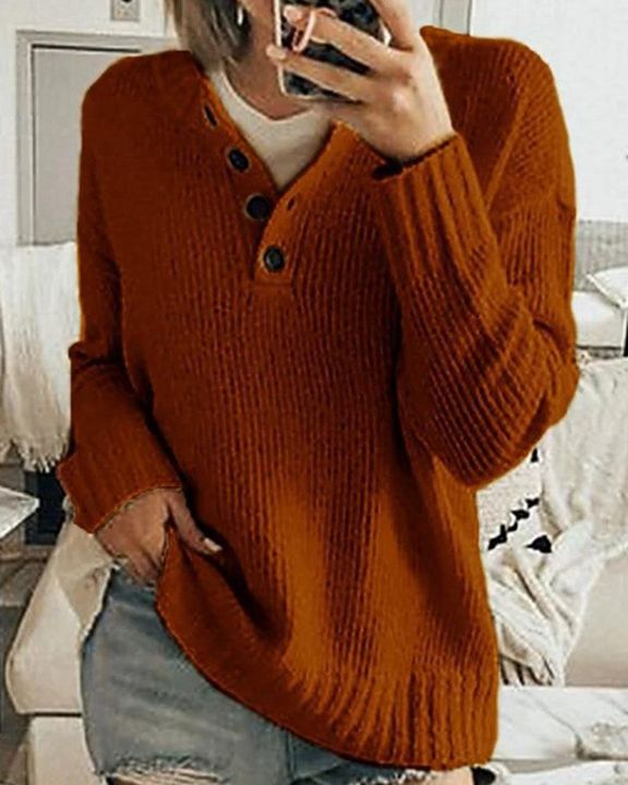 Solid Rib-Knit Button Front Drop Shoulder Sweater gallery 3