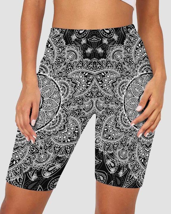 Graphic Print Elastic Waist Biker Shorts gallery 7