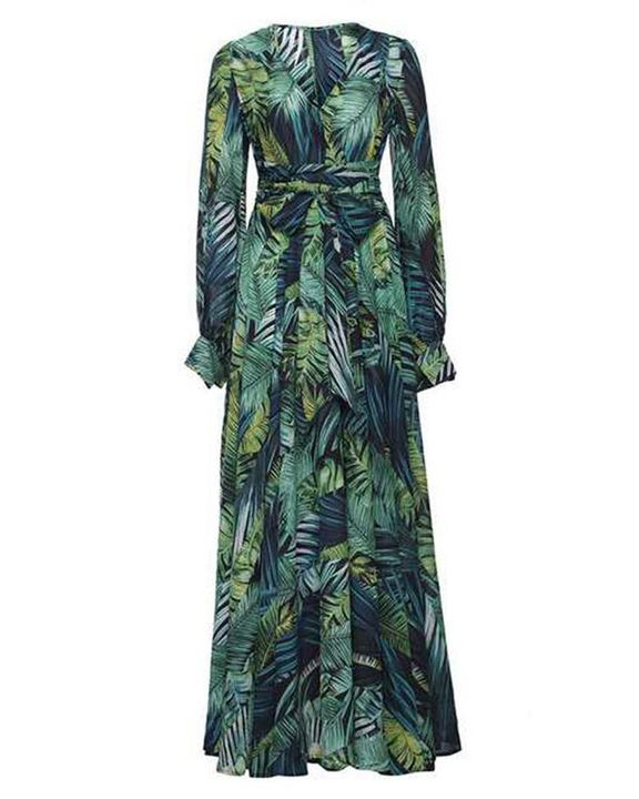Tropical Print Belted Pleated Surplice Neck Maxi Dress gallery 6