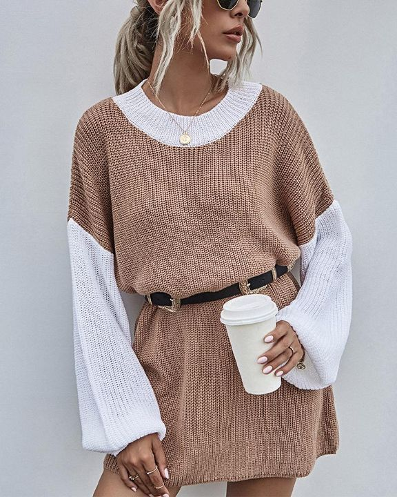 Colorblock Chunky Knit Drop Bishop Sleeve Sweater gallery 1