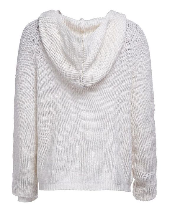 Eyelet Lace Up Ribbed Hooded Sweater gallery 7