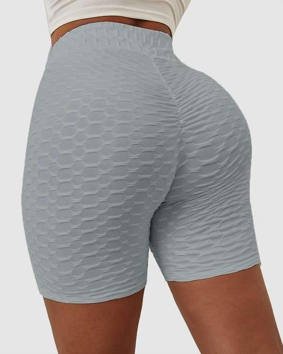 Solid Textured Hip Lifting Shorts gallery 7