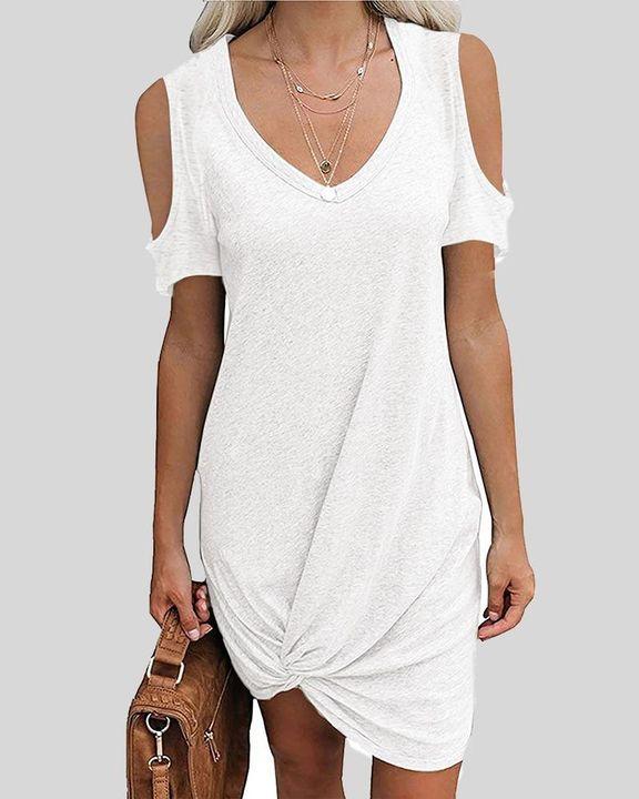 Solid Twist Cold Shoulder Short Dress gallery 1
