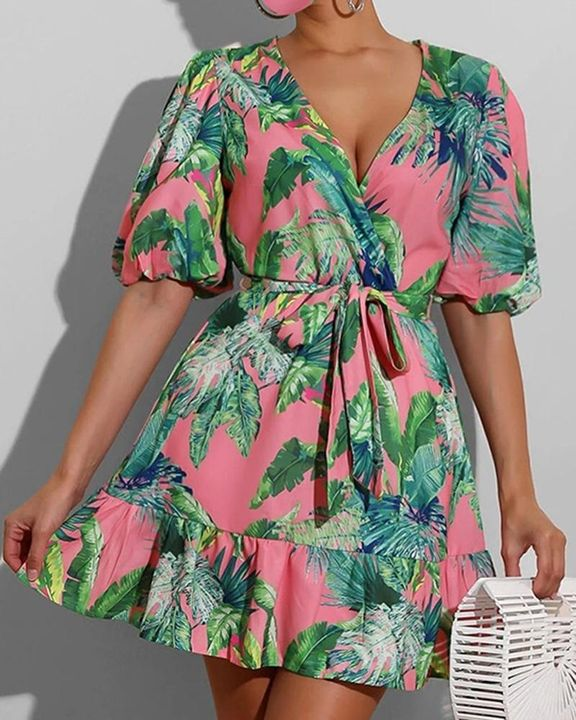 Tropical Print Ruffle Hem Belted Surplice Neck Mini Dress gallery 1