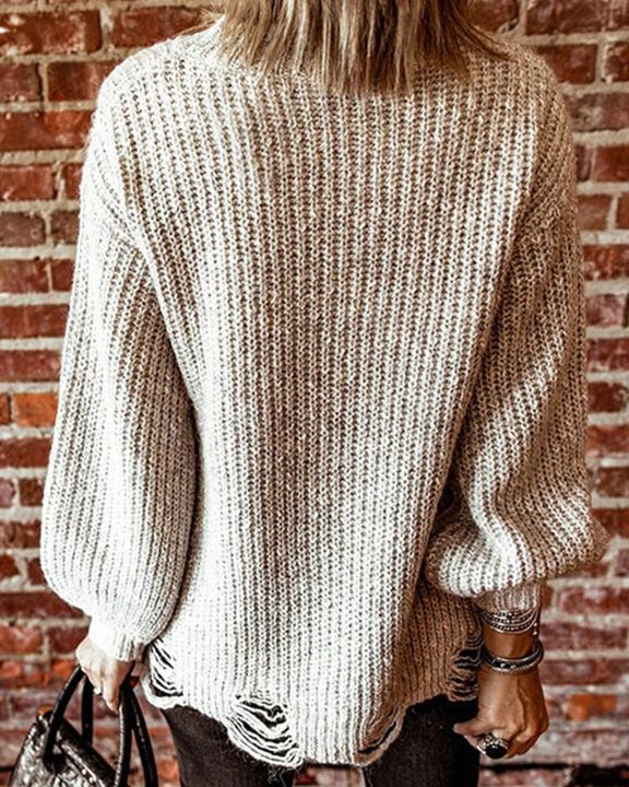 Chunky Knit Drop Bishop Sleeve Sweater gallery 4