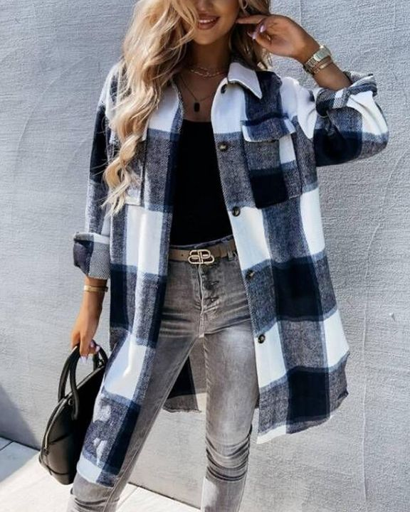 Plaid Flap Pocket Button Up Knee Length Coat gallery 1