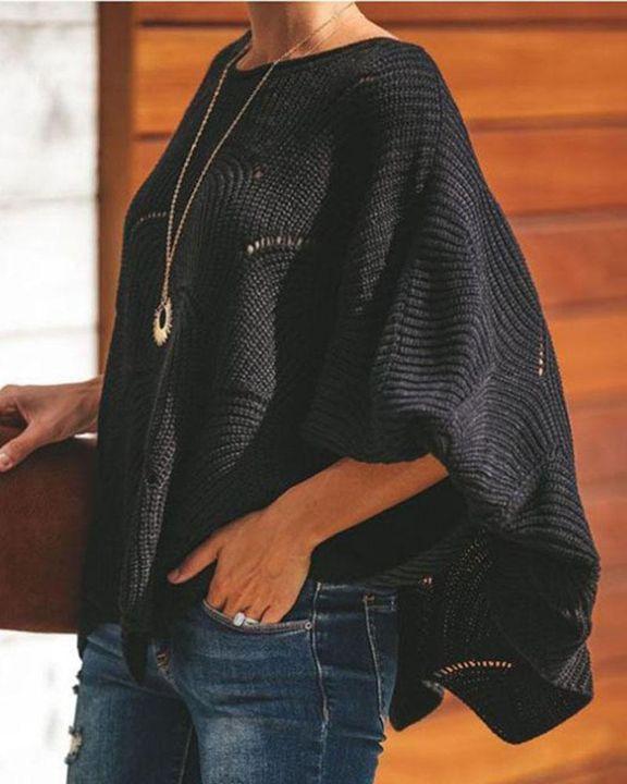 Open Knit Lantern Sleeve Scallop Hem Oversized Sweater gallery 8
