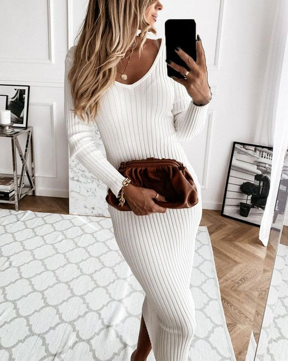 Solid Rib-Knit Form Fitted Maxi Dress gallery 1