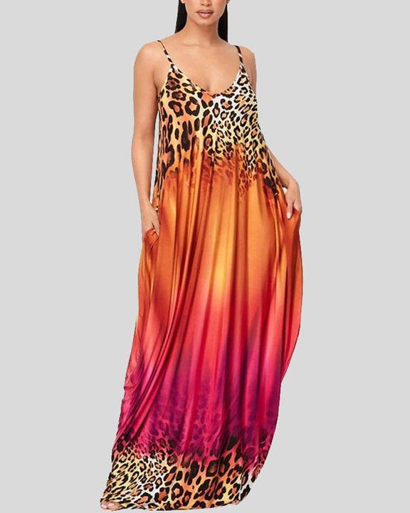Ombre Leopard Print Cami Maxi Dress gallery 3