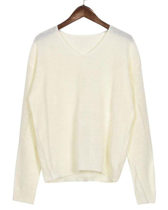 Crochet Drop Shoulder V Neck Sweater gallery 6