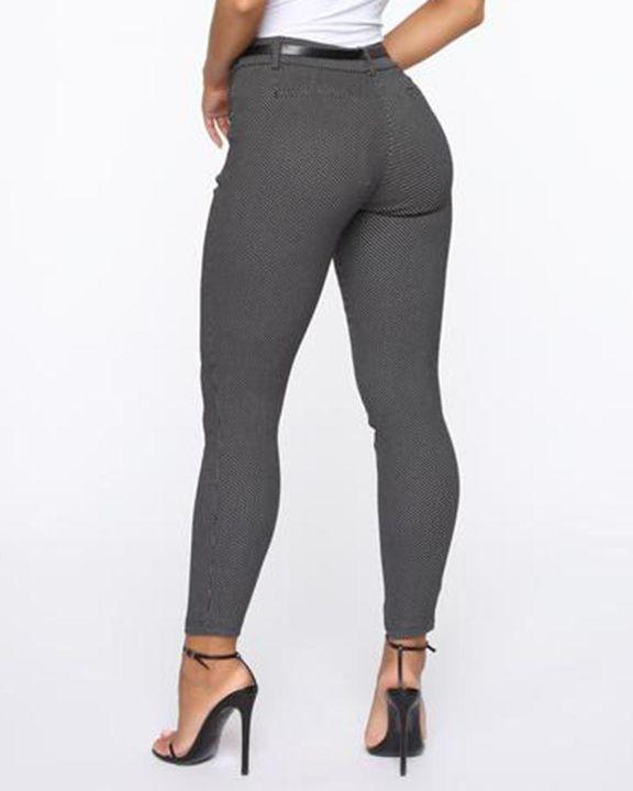 Plaid  Slant Pocket Self-Belted Mid Rise Pants gallery 5