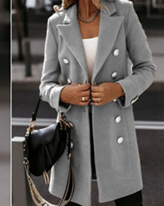 Solid Double Breasted Lapel Neck Coat gallery 8