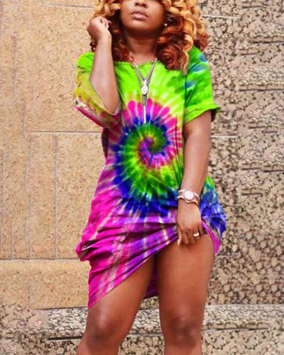 Spiral Tie Dye Pocket Front Mini Dress gallery 3