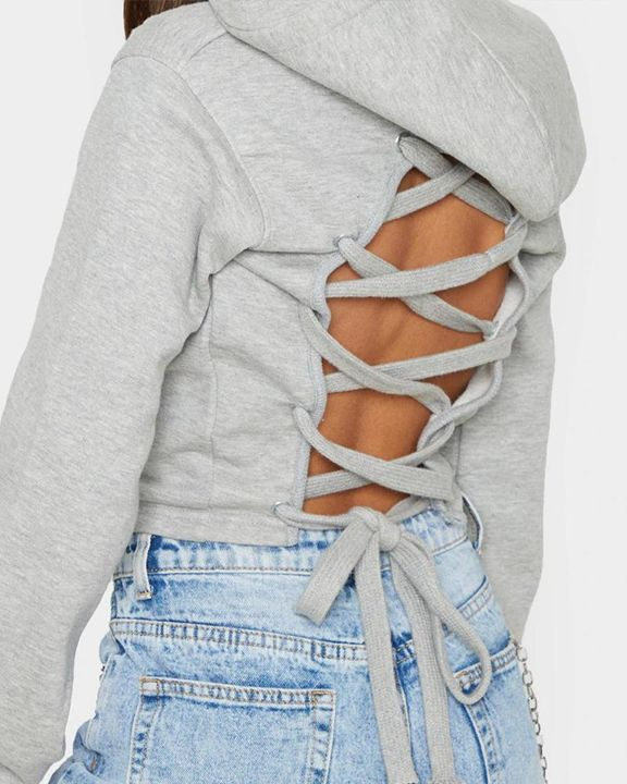 Lace Up Hollow Out Back Crop Hoodie gallery 9
