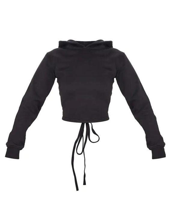 Lace Up Hollow Out Back Crop Hoodie gallery 14