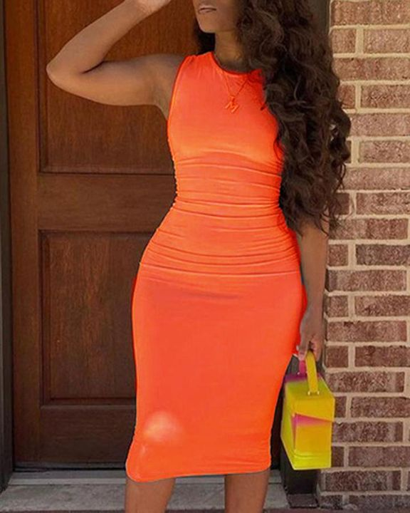 Solid Sleeveless Form Fitted Midi Dress gallery 9