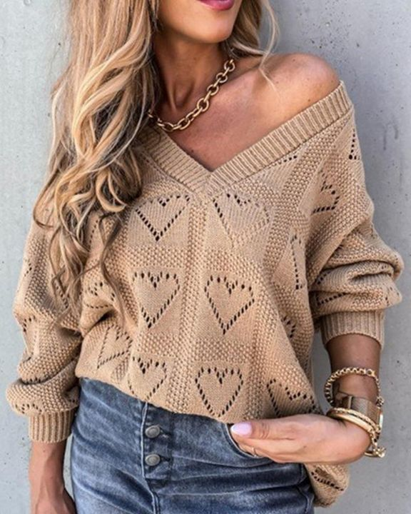 Heart Pattern Hollow Out Rib-Knit Sweater gallery 1