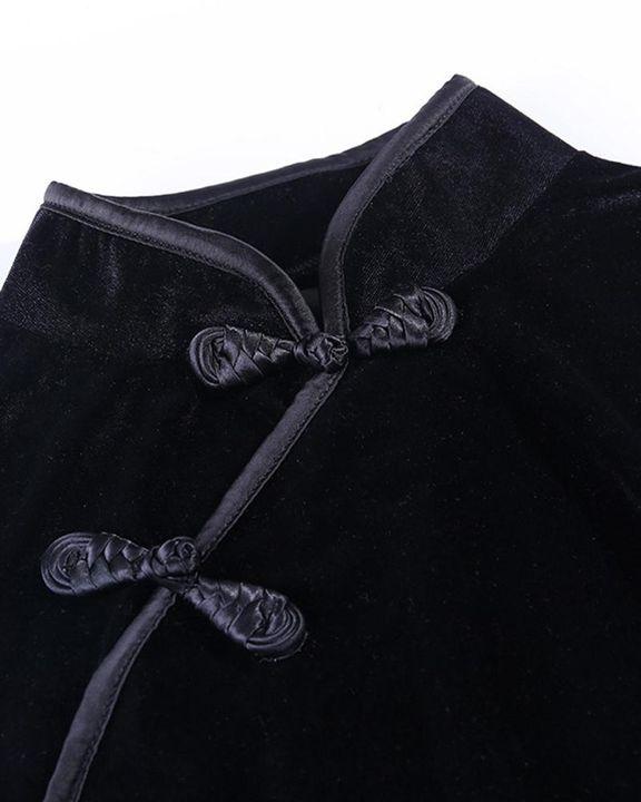 Velvet Split Hem Long Sleeve Qipao Style Dress gallery 6