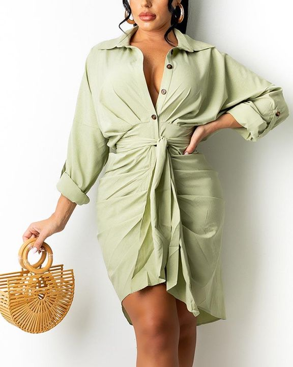 Solid Button Up Ruched Belted Knee Length Dress gallery 2