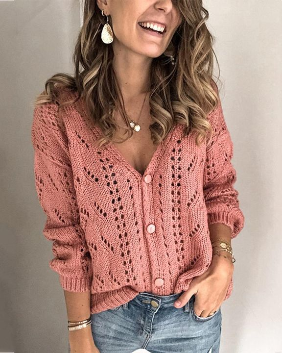 Pointelle Knit Button Up Drop Shoulder Sweater gallery 4