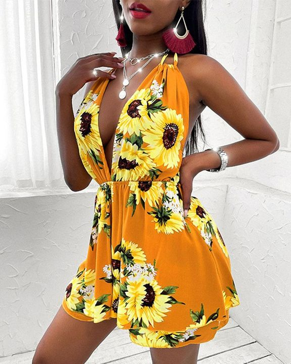 Floral Print Tiered Layer Cut Out Halter Mini Dress gallery 3