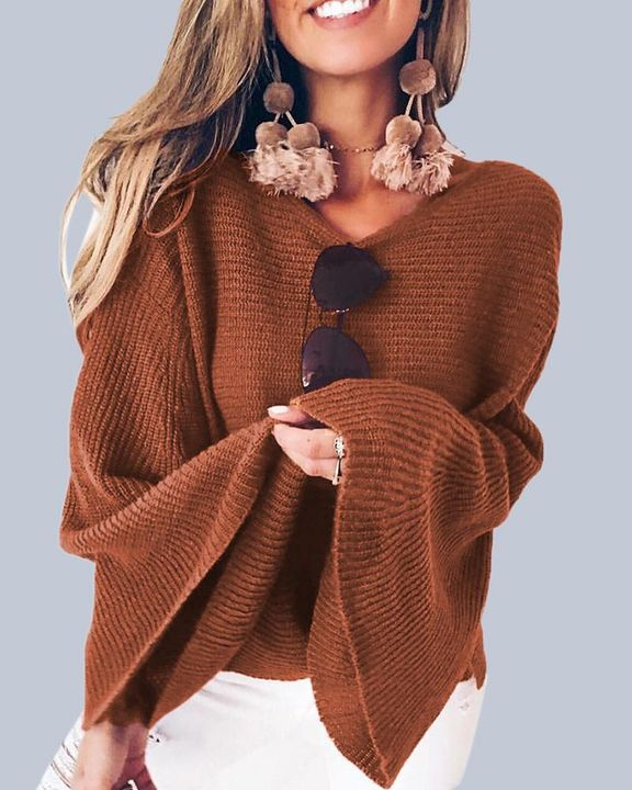 Solid Bell Sleeve Scoop Neck Sweater gallery 2