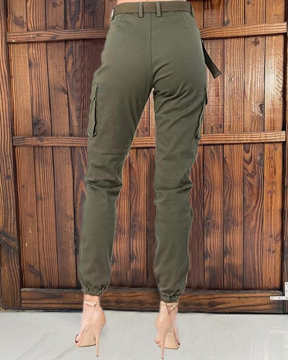 Solid Pocket Detail Belted High Waist Pants gallery 2