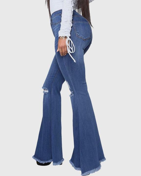 Ripped Raw Edge High Waist Flare Jeans gallery 2