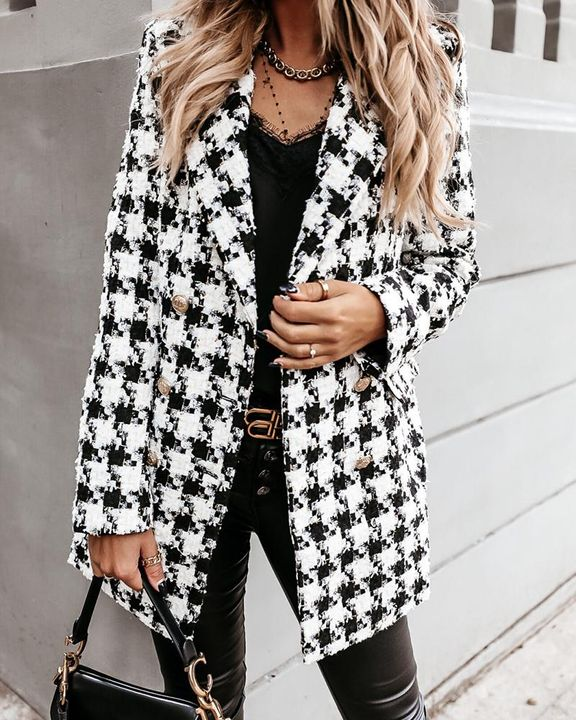 Plaid Double Breasted Lapel Neck Coat gallery 2