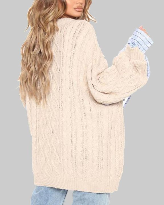 Colorblock & Striped Cable Knit Drop Shoulder Sweater gallery 6