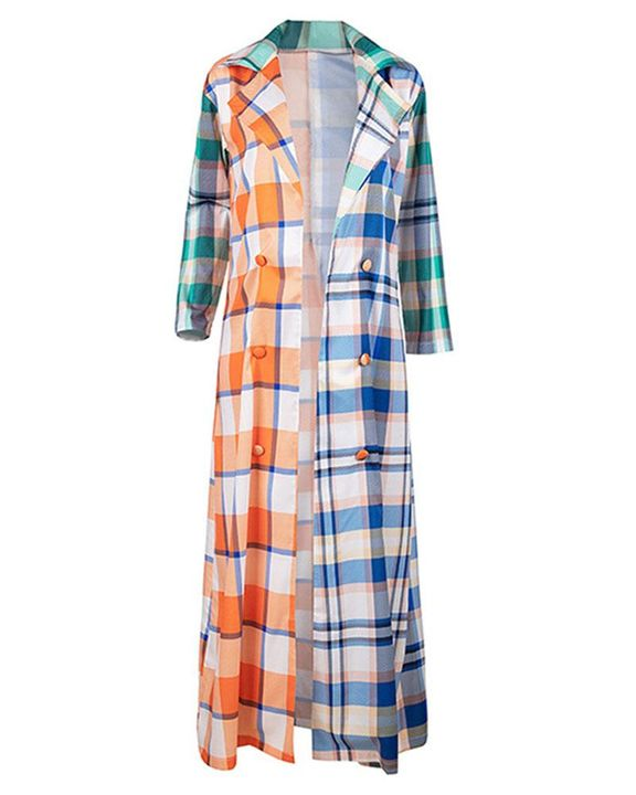 Plaid Button Front Long Sleeve Coat gallery 4