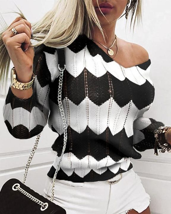 Chevron Print Hollow Out V Neck Sweater gallery 4