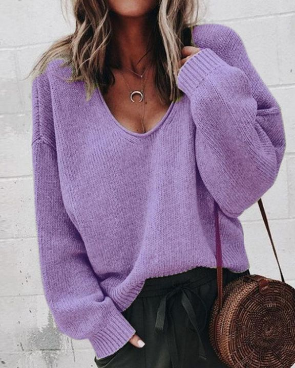 Solid Rib-knit Drop Shoulder Sweater gallery 3