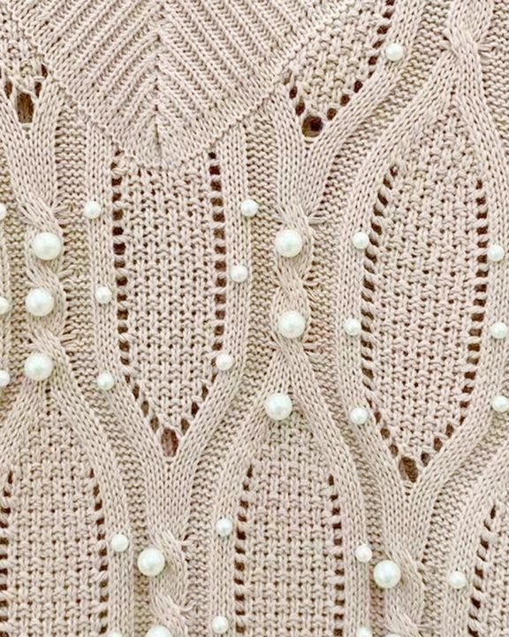 Solid Cable Knit Pearls Beaded V Neck Sweater gallery 5