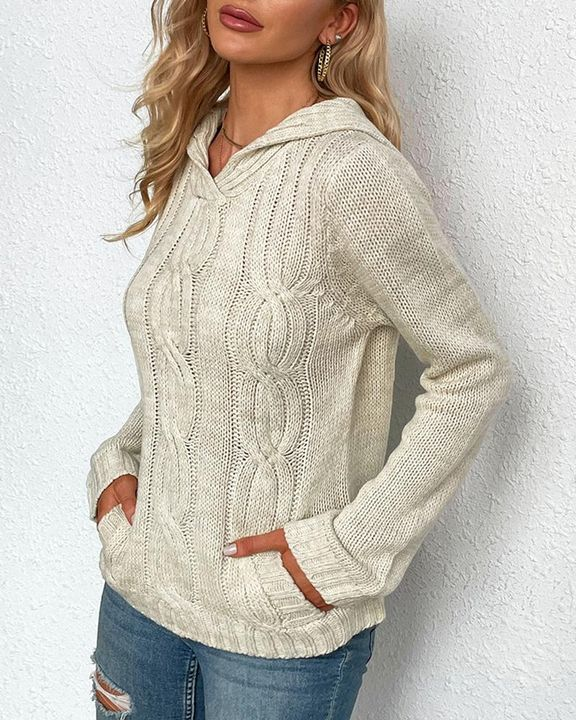 Cable Knit Long Sleeve V Neck Sweater gallery 2