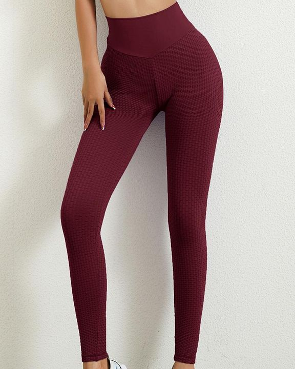 Solid Textured Butt Lifting Leggings gallery 6