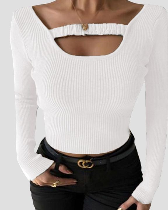 Ribbed Knit Scoop Neck Bodycon Sweater gallery 5