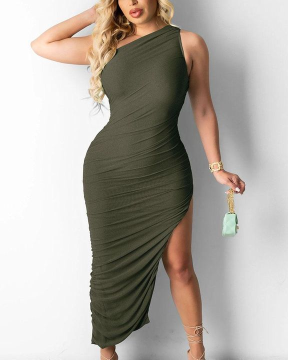 Solid One Shoulder Split Thigh Ruched Dress gallery 14