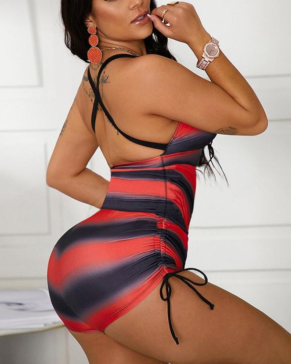 Striped Criss Cross Back Drawstring Side One Piece Swimsuit gallery 4