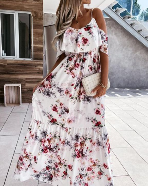 Floral Print Ruffle Trim Backless Cold Shoulder Maxi Dress gallery 1