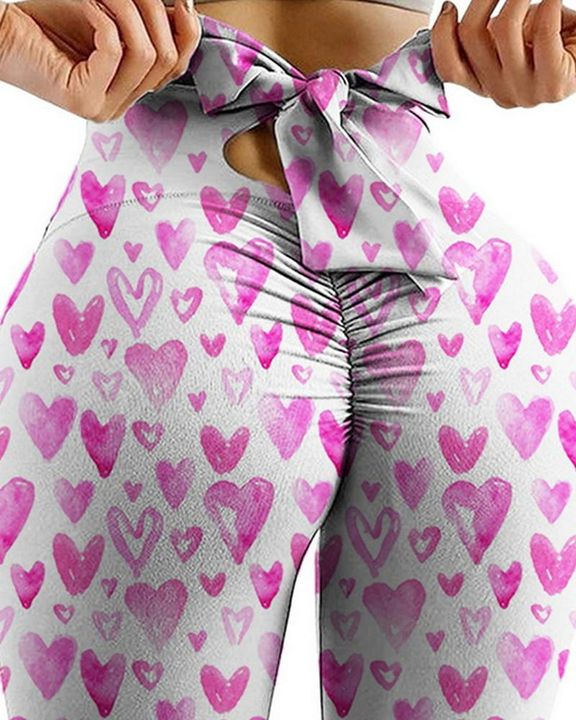 Allover Print Cutout Bow Back Scrunch Butt Sports Leggings  gallery 3